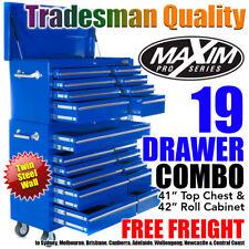 "MAXIM 42"" Tool Chest 19 Drawers on Cabinet Box Toolbox Snap Lock Storage Wheels"