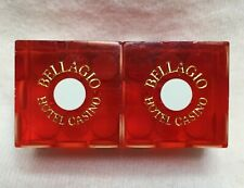 Pair of Bellagio Lv Casino Dice - Clear Red, Matching #s
