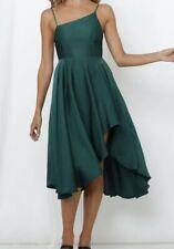 NEW PEPPERMAYO EMERALD GREEN ASYMETRICAL NECK SILKY SATIN FORMAL DRESS 8 10 12