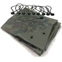 YUZET Green Camouflage XT Tarpaulin & Ball Bungees Heavy Duty Tarp Ground Sheet