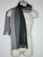 Calvin Klein Mens Black Gray Scarf Rectangle Fringe Soft