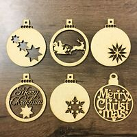 Wooden Christmas Baubles Tree Decoration MDF Wood Laser Cut Shape Santa Star 3mm