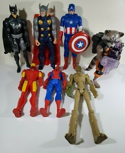 "Marvel DC Comics 12"" Action Figures Lot (7) Legends Groot Racoon Lights/Sounds"