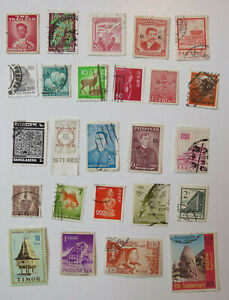 Asia 90 new, used postage stamps, 29 countries commemorative regular issue 1970s
