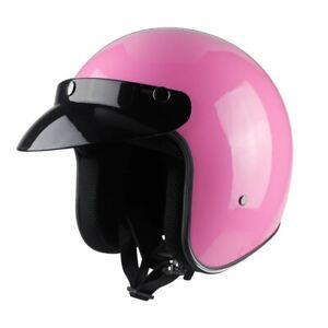 DOT Leather Helmet Motorcycle Cruiser Dull Black Open Face Vintage Bike Scooter