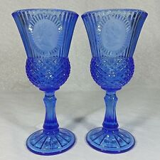 Avon Fostoria Blue Glass Water Wine Goblet George & Martha Washington Set