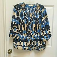 Choices Ladies Jean Jacket size Large Abstract Blues 3/4 sleeve Wood Trim
