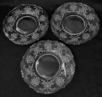 """HEISEY Elegant Crystal ORCHID Etch (3) Salad Plates (7-1/4"""")"""