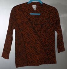 Chico's Brown Animal Print Cotton V-Neck Knit Top-Misses Chico's Size 0/S - NWOT