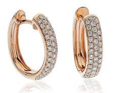 Diamond Hoop Earrings 0.70ct F VS in 18ct Rose Gold for Pierced Ears