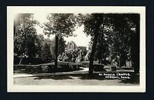 Carroll Iowa IA c1925/30s RPPC St Angela Campus Gardens and Rock Grottos