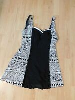Womens One Piece Black & White SwimDress with attached Bottoms L (12-14)  New