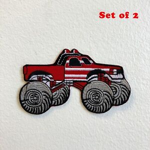 Monster Truck Toy American Red Iron on Sew on Embroidered Patch Set of 2