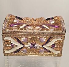 Brass and Stones Enameled Butterfly Reticulated Trinket Box, Magnetic Closer