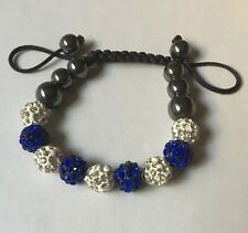 NEW NWOT Rhinestone Beaded Bracelet: Gunmetal, White, Blue