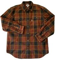 Carhartt Mens Outdoors Heavy Flannel Button Down Plaid Shirt Mens Size Large