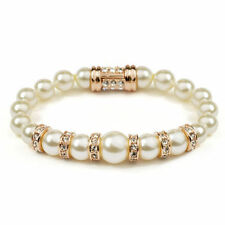 Beautiful 18K Rose Gold Plated Pearl White Austrian Crystal Bracelet Bangle