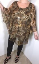 Gold Leopard Print Tunic Top Stretchy Soft Silky Long Plus Size Fits 16-22 NEW
