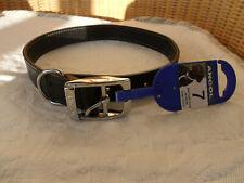 ANCOL HERITAGE BLACK LEATHER DOG COLLAR SIZE 7 50 - 59cm LARGE BNWT