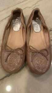 Chanel CC Ballet Slippers Rose Gold Size 36