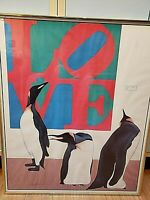"""""""LOVE"""" LITHOGRAPH PRINT HAND SIGNED BY ARTIST 1980's POP ART EMPEROR PENGUINS"""