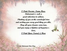 Retirement Gift for that Special Person~Personalized Poem Gift~Hummingbird Print