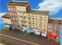 N Scale Buildings - Downtown apartments with shops  Cardstock kit set CN016