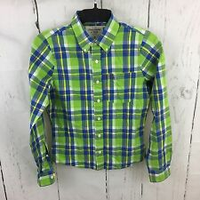 Abercrombie & Fitch Button Down Shirt Small Blue Lime Green Plaid L/S Muscle Fit