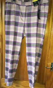 Marks & Spencer Checked Slim Ankle Grazer Trousers Size 16 New Tags Lilac Tartan