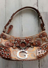 Guess Purse Satchel Handbag Brown Cream Metallic Threads Large Metal G 2 Flaws
