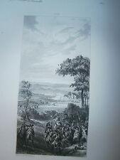 Gravure 19° Guerre révolution Bataille de Charleroi 1794