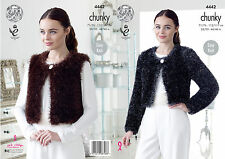King Cole 4442 Knitting Pattern V and Round Neck Cardigans in Tinsel Chunky