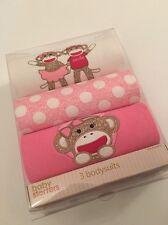 Baby Starters Girl Sock Monkey 3 Bodysuits Set Size 0-6 Months Layette Pink Ivor