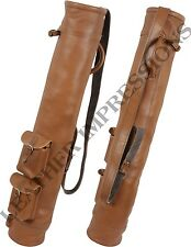 GENUINE LEATHER GOLF BAG  CLUB & BALL BAG - TWO POCKETS,HANDMADE IN REAL LEATHER