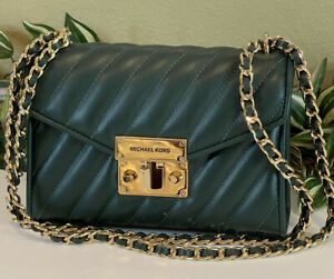 MICHAEL KORS ROSE SMALL FLAP CROSSBODY SHOULDER BAG QUILTED GREEN FAUX LEATHER