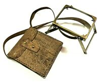 Vintage Desktop Rectangular Brass Magnifying Glass Nautical with Leather Cover