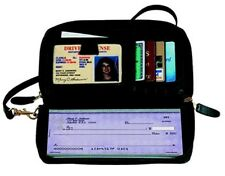 Small Black practical Bag/ Wallet 2 Zippers ID Credit Card Case and check Holder