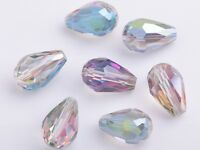 20pcs 12X8mm Teardrop Faceted Crystal Glass Charms Loose Spacer Beads Rose Green