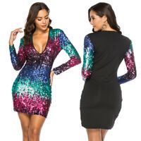 Women Sequin Mini Dress Deep V-Neck Long Sleeve Bodycon Party Nightclub Cocktail