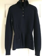 CHANEL 09A PARIS MOSCOW NEW Blue SWEATER Mirror STAR CC buttons FR36-FR38 $3.2K