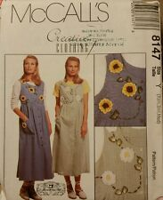 8147 Uncut McCall's Sewing Pattern Misses' Jumper with Ribbon Flowers Size XS-M