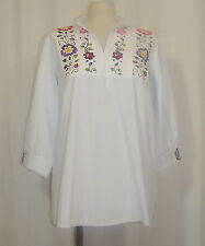 Large Vitange Mexican Ethnic Spring Floral Embroidered White Peasant Tunic Top
