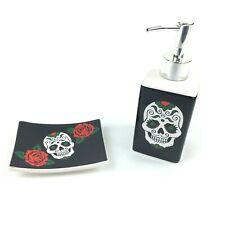 2 Piece Ceramic Bath Set Black Skulls & Roses Lotion Pump Dispenser Soap Dish