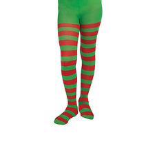 Chicas/Damas Elfo Santa's Ayudante Navidad Navidad Rayada Calzas (rojo/verde)