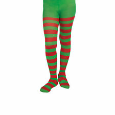 Girls / Ladies Elf Santa's Helper Christmas Xmas Stripy Tights (Red / Green)