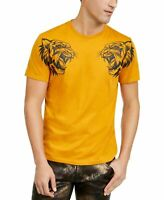 INC Mens T-Shirt Yellow Size 2XL Crewneck Dual Tiger Graphic Tee $29 #220