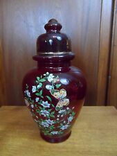 Large Cranberry Art Glass Baluster Covered  Vase