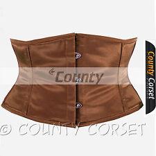 Shaper Cincher MINI Vestaglia Stecche Acciaio waistbust marrone sexy corsetto in Satin