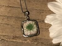 Recycled Broken Porcelain Jewelry, Asian Floral Pendant