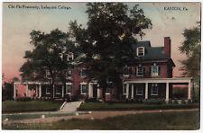 1918 Easton PA Chi Fi Fraternity Lafayette College RARE Hand Colored DB Postcard